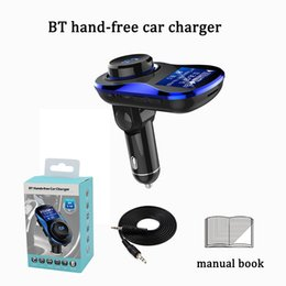 Wholesale Mp3 Usb Power Adapter - dual usb fast car charger kit traval power adapter 5V 3.1A hand free bluetooth 4.2 mp3 music player FM transmitter multi-function device