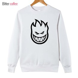 Wholesale Flame Logo - Wholesale- 2017 new men Pullover sweatshirt SPITFIRE WHEELS Skateboard Zombie Flaming Head Logo Plus Size