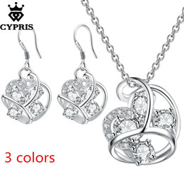 Wholesale red bridal jewellery - WHOLESALE wholesale retail set wedding party bridal party jewelry sets silver fashion jewellery sets earring necklace hot