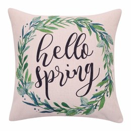 Wholesale Leaf Throw Pillows - Spring Wreath Cushion Covers Watercolor Leaf Decorative Pillow Cases Linen Hello Spring Quote Throw Pillow Covers for Sofa Home