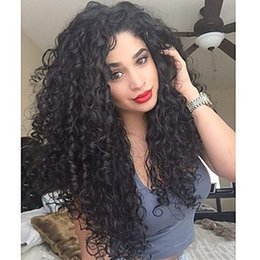 Wholesale Long Curly Hair Bangs - Black Sexy Curly Synthetic Hair Hot Fashion Women Heat Resistant Black Long Kinky Curly Wavy Wigs With Bang for Black Women