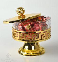 Süßigkeiten sets online-Luxus Drinkware Geschirrset Bonbongläser Silber vergoldet Metall Acryl Salz Zucker Tee Kaffeeglas