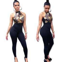 Wholesale Nightclub Jumpsuits For Women - 2018 Spring New design Nightclub Sexy woman Sleeveless lace Turtleneck Skinny Polyester Jumpsuit for woman