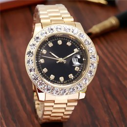 Wholesale mother pearl watches - relogio masculino Luxury Brand Gold President Day-Date Diamonds Watch Men Stainless Mother of Pearl Dial Diamond Bezel Automatic WristWatch