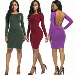 2e70180ab3 Designer Womens Clothes 2018 Autumn Solid Color Long Sleeve Sexy Backless  Bodycon Club Dress Slim Women Party Dresses Cheap Jurken Vestidos