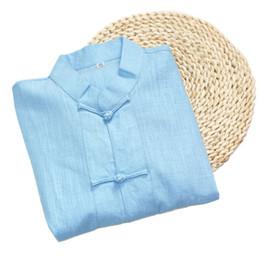 Голубой мандарин онлайн-Blue Short Sleeve Male Chinese Vintage Style Shirt Mandarin Collar  Top 2017 Summer Cotton Linen Clothing S-XXXL