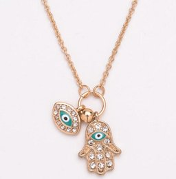 Wholesale hand fatima jewelry - Hand of Fatima Pendant Gold Silver Hamsa Evil Eye Necklace Fashion Jewelry Hand Shape Turkey's Blue Eyes Necklace Party Favor