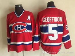 Недорогие канадские трикотажные изделия онлайн-Монреаль Canadiens трикотажные изделия #5 BERNARD GEOFFRION Red 1959 CCM старинные дешевые хоккей Джерси