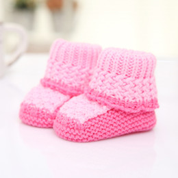 Wholesale Knitting Booties Infants - Spring Autumn Winter Color Patchwork Design Baby Boots Knitted Shoes for Newborn Infants Baby Girls Boys Casual Booties 11cm