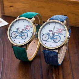 Wholesale Clock Bike - 2017 Fashion Women Girl Kids Bike Watches Vintage Wristwatch Canvas Fabric Strap Bicycle Pattern Quartz Cartoon Watch gift Clock