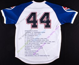 Wholesale Black Highlights - Hank AARON Jersey With Embroidered Career highlights and awards Cream Cooperstown