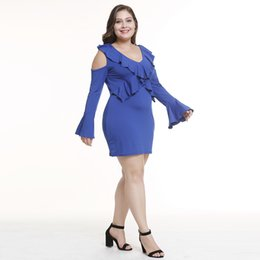 Mulheres calças de inverno mais tamanho on-line-XL-5XL mulheres outono inverno cor pura vestido senhora ruffles off ombro vestido de manga comprida magro marca apertada dress plus size