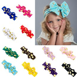 Wholesale Gold Headband Bow - Girls Hairband Gold Dots 12 Colors Bronzing Cotton Fabric Bow Hair Accessories Soft Breatheable Kids Headband