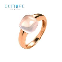 Anelli in argento sterling in quarzo online-SPEDIZIONE GRATUITA-Gemore Cuscino forma naturale rosa gemma 3.8CT quarzo rosa argento sterling 925 donne moda anello gioielleria raffinata