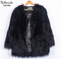 Wholesale Girls Purple Fur Coat - Baharcelin Plus Size Women Girl Clothing Autumn Winter Faux Fur Long coat Jacket women Outwear Fashion Slim Fur clothing
