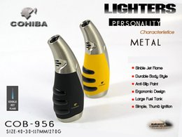 Wholesale Brand Cigars - New Arrival Creative COHIBA Brand turbo butane gas lighters,New yellow Windproof inflatable Cigar Lighter Torch