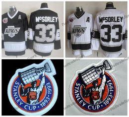 Винтаж 1993 Кубок Стэнли 100-й Лос-Анджелес Кингз Хоккейные майки Марти МакСорли LA KINGS 33 Марти МакСорли Хоккейные рубашки сшитые A Patc от