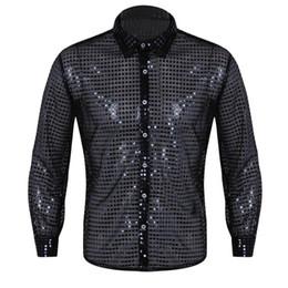 Männer tanzhemden online-Männer Durchsichtig Pailletten Latin Shirt Langarm Ballsaal Kleid Kleidung 2018 Tango Rumba Top Mens Shirts Dance Performance Kostüm