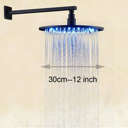"""Wholesale Lighted Shower Heads Rain - LED Light 12"""" Brass Rain Shower Head Wall Mount Shower Arm Bathroom Round Head Oil Rubbed Bronze"""