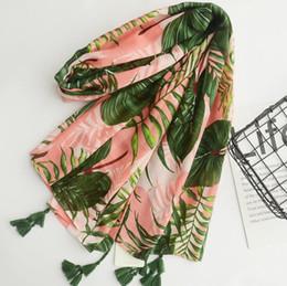 Wholesale cotton beach sarongs - New Cotton Print Leaves Scarves Women Beach Towel Scarf Female Shawls Cape Beach Scarves Women Scarf Beach Cover Up Wrap Sarong 180*100 CM