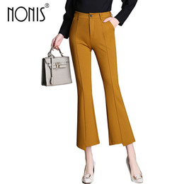 Wholesale Ladies Capri Trousers - Noni 2017 women new capri pant ankle-length ladies office work trousers wide leg loose femme pantalon black yellow plus size