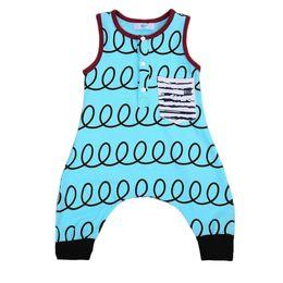 Wholesale clothing onesies - Newborn Baby Boy Jumpsuit Blue Romper Telephone Wire Sleeveless Cotton Onesies Baby Outfit Bodysuit Sunsuit Kid Clothing set