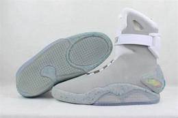 Wholesale Light Gray Heels - Air Mag Sneakers Marty McFly's LED Shoes The Future Glow In The Gray Black Mag Marty McFly Sneakers With Box Top Quality Basketball Shoes