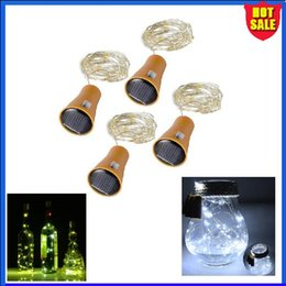 purple wines glasses Promo Codes - LED Solar string 10LED 15 20 LED red wine bottle Stopper lamp copper wire string Lights Glass LED Strings Light For Xmas Party Wedding Decor