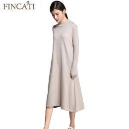 Wholesale green cashmere sweater dresses - Women Sweater Dress 2017 Autumn Winter Cashmere Blending Half Turtleneck Casual Long Loose Soft Femme Dresses Vestidos
