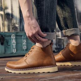 7daae756 Otoño e invierno Martin zapatos de los hombres de cuero de la PU Casual  Martin botas suaves y cómodos zapatos de moda Elast Band botines de trabajo  Botas de ...