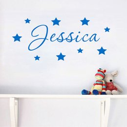 Wholesale names stickers - Personalised name wall sticker decal door boys girls childrens nursery Kids Bedroom Wall Art Custom Stars Home Decor