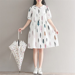 c17a3f9699 Mori Girl Dresses 2018 New Women Preppy Style Sweet Cute Printed Peter Pan  Collar Short Sleeve Cotton Dress Casual Vestidos