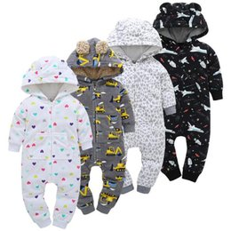 Wholesale Hooded Bodysuits - 19 Styles Baby Clothing Toddler Fleece Rompers Newborn Winter Onesies Hooded Rompers Cartoon Jumpsuits Kids Cotton Bodysuits CCA8724 20pcs