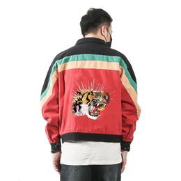 Wholesale Breast Head - 2017 Autumn Korea Men Denim Jacket Tiger head Embroidery Large size Loose Multicolor Cotton Outwear College Students Coat