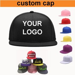 Wholesale Custom Logo Hat Embroidery - Custom Baseball Caps Adjustable Flat Brimmed Hip Hop Snapbacks Hats Fitted Embroidery Printing Logo Adult Men Women Kids Size Available