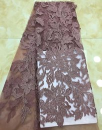 Wholesale african fabric brown - 2018 latest brown color African French Lace Fabric High Quality African Tulle cut Lace For Wedding