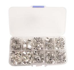 Tampas metálicas de extremidade on-line-245PCS / BOX Antiqued Prata Metal Cord End Caps Beads W / Container (10 Estilos)