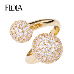 Wholesale Full Spiral - whole saleFLOLA Gold Full Zircon Double Ball Open Rings Femme Clear CZ Spiral Finger Ring High Quality Lady Valentine Gift Jewelry rige95