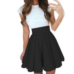 Wholesale Ladies Black Pleated Mini Skirt - Wholesale-Sexy School Girls Short Skirts Womens Black A-Line Party Cocktail Mini Skirt Ladies High Waist Pleated Skater Skirt Saia Midi