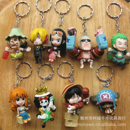 Wholesale One Piece Anime Keychain - 9pcs set One Piece Zoro Frank Luffy Brook Chopper Robin Nami Sanji Anime Keychain Collectible Action Figure PVC Collection toys