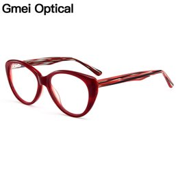 df0e870944 Gmei Optical New Trendy Cat Eye Acetate Full Rim Optical Glasses Frame Women  Myopia Presbyopia Eyewear With Spring Hinges A202