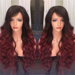 Wholesale Short Kinky Straight Wigs - 2018 Fashion Two Tone1b 99j Ombre Full Lace Wig Glueless Lace Front Human Hair Wigs Brazilian Kinky Curly Ombre Lace Wigs