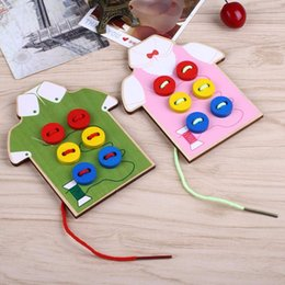 Wholesale Sewing Buttons Kids - Wholesale- Montessori Wear The Button Sewing Button Wooden Montessori Educational Toys Funny Toys By Hand Clothes For Kids