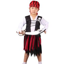 Piratas caribe ropa online-2018 Trajes de pirata para niños, niñas y niños, Striped Caribbean Pirates, juego de cos show Jack Captain, ropa de pirata, juegos de cuatro piezas