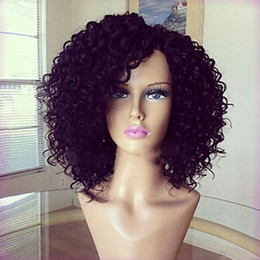 Wholesale Burgundy Afro - Hot Sale Black Short Afro Kinky Curly Synthetic Wigs with Baby Hair Heat Resistant Glueless Synthetic Lace Front Wigs for Black Women