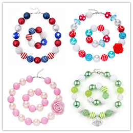 Wholesale color bead necklace - 68 Design Baby Girls Chunky Bead Necklace Bracelet Sets American Flag Unicorn Diamond Rose Bow Bubblegum Toddler Party Jewelry