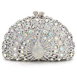 Bolso de embrague de cristal pavo real online-Animal Luxury Crystal Evening Bag Peacock diamond party pochette soiree Mujeres Cadena bolsos bolso de la boda Día Embragues Y1890401