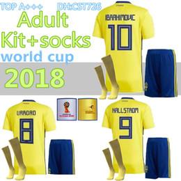 4fadaec80 Adults 2018 World Cup Sweden Soccer Sets Zlatan Ibrahimovic Marcus Berg TOIVONEN  LARSSON Granqvist Home Kit+ socks Jersey Football Uniform