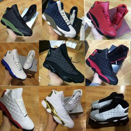 Wholesale Fabric Cats - high quality 13 XIII MENS and women Basketball Shoes black cat Bred Navy Game hologram grey toe Flint Grey Athletics Sport Sneaker Boots