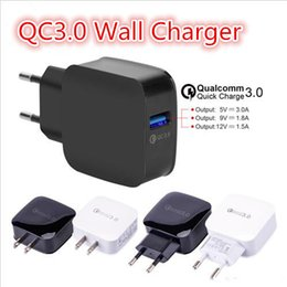 Wholesale 9v Adapter - QC3.0 12V 9V 5V Quick wall charger Travel Adapter EU US fast USB charger 18W for iphone X Samsung Galaxy S8 S9 Plus huawei xiaomi